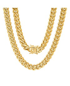 "Men's 18k gold Plated Stainless Steel 24"" Miami Cuban Link Chain with 10mm Box Clasp Necklaces"