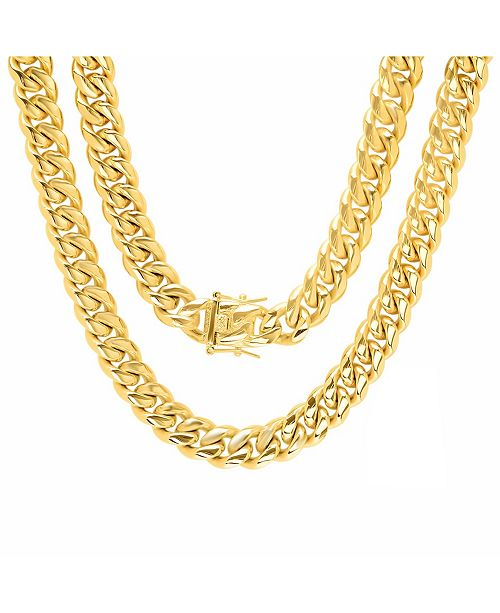 """STEELTIME Men's 18k gold Plated Stainless Steel 30"""" Miami Cuban Link Chain with 12mm Box Clasp Necklaces"""