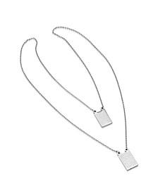 Steeltime Men's Stainless Steel Religious Escapulario Style Reversable Necklace