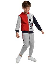 Little Boys Lawrence Colorblocked Logo Hoodie & Beau Side Stripe Fleece Sweatpants