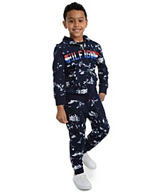 Little Boys Edwin Splatter-Print Logo Hoodie & Courtney Splatter-Print Fleece Sweatpants