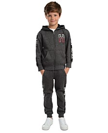 Little Boys Wyatt Full-Zip Logo Hoodie & Shango Side Stripe Fleece Sweatpants