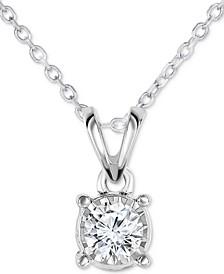 "Diamond Solitaire 18"" Pendant Necklace (1/4 ct. t.w.) in 14k White Gold"