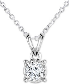 """TruMiracle® Diamond Solitaire 18"""" Pendant Necklace (1/4 ct. t.w.) in 14k White Gold"""