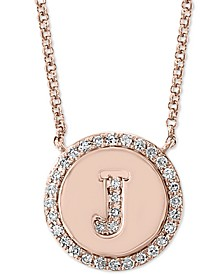 "EFFY® Diamond Initial Pendant Necklace (1/6 ct. t.w.) in 14k Rose Gold, 16"" + 2"" extender"