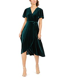 Velvet Faux-Wrap Dress