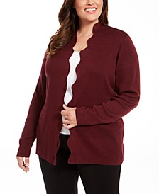 Belldidni Plus Size Scalloped Open-Front Cardigan