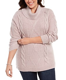 Plus Size Cowl-Neck Cable-Knit Sweater, Created For Macy's