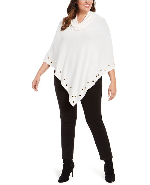 Belldini Plus Size Embellished Cowlneck Poncho