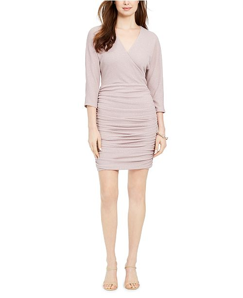 Vince Camuto Ruched Glitter Bodycon Dress