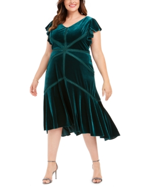 1930s Day Dresses, Afternoon Dresses History Taylor Plus Size Velvet High-Low A-Line Dress $139.00 AT vintagedancer.com