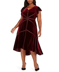 Plus Size Velvet High-Low A-Line Dress