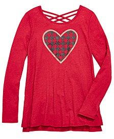 Big Girls Heart-Print Crisscross Back T-Shirt, Created For Macy's