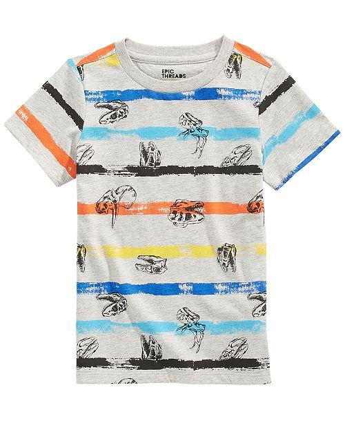 Epic Threads Little Boys Dino Stripe T-Shirt, Created For Macy's