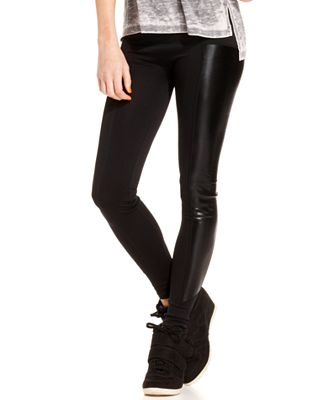 Material Girl Juniors' Faux-Leather-Inset Leggings, Only at Macy's ...