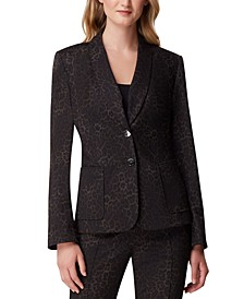 Petite Cat-Print Shawl-Collar Blazer
