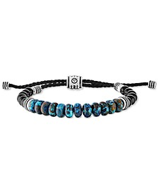 Chrysocolla & Black Onyx Beaded Bolo Bracelet in Sterling Silver