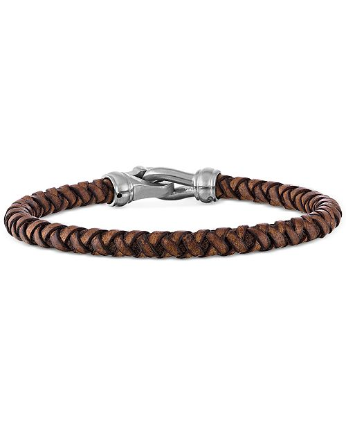 Esquire Men's Jewelry Braided Brown Leather Bracelet in Stainless Steel, Created for Macy's