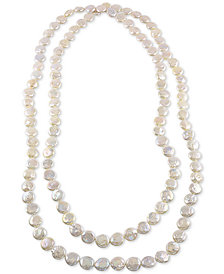 """64"""" Cultured Freshwater Endless Coin Pearl (12-13mm) Strand Necklace"""