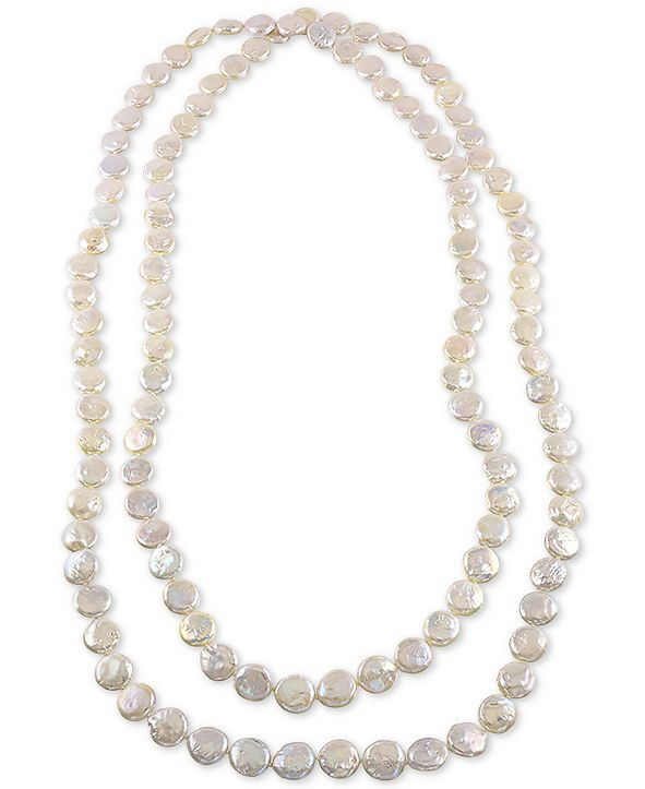 """Macy's 64"""" Cultured Freshwater Endless Coin Pearl (12-13mm) Strand Necklace"""