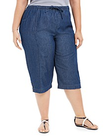 Plus Size Cotton Denim Capri Pants, Created for Macy's