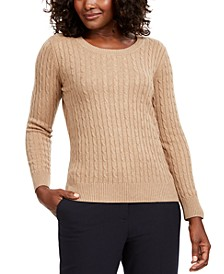 Petite Cotton Cable Crewneck Sweater, Created for Macy's