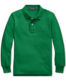 Big Boy Cotton Mesh Long-Sleeve Polo Shirt