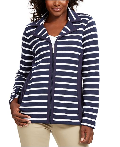 Karen Scott Sport French Terry  Striped Jacket, Created for Macy's