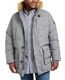 Tommy Hilfiger Men's Big & Tall Long Parka Jacket with Faux Fur Hood