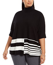 Plus Size Colorblocked Turtleneck Poncho, Created For Macy's