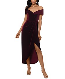 Petite Velvet Off-The-Shoulder Dress