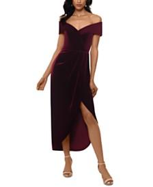 XSCAPE Petite Velvet Off-The-Shoulder Dress