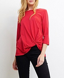 Womens Cotton Jersey 3/4 Sleeve Twist Tee