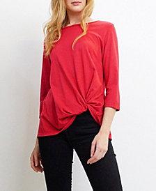 COIN 1804 Womens Jersey Twist 3/4 Sleeve T-Shirt