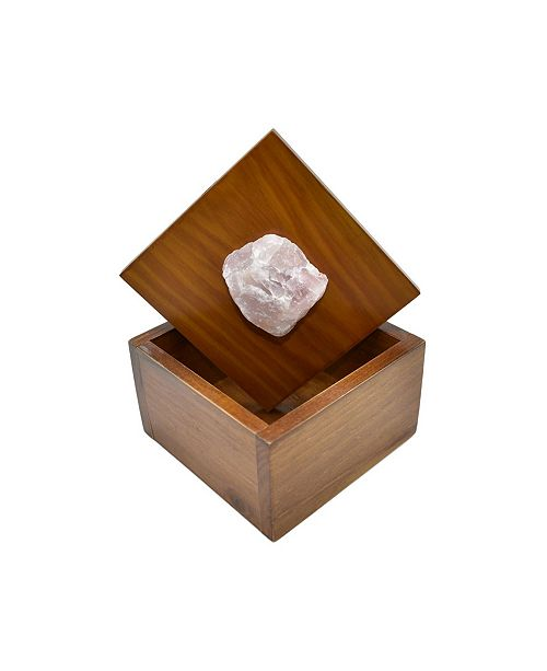 Nature's Decorations - Wooden Jewelry Box with Rose Quartz