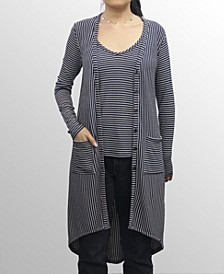 Womens Rayon Blend Stripe Cardigan