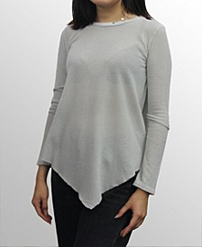 Womens Cotton Mesh Asymmetric Hem Long Sleeve