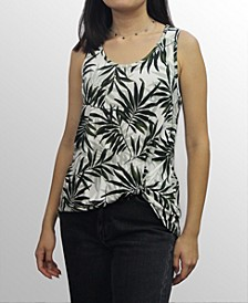 Womens Leaf Print Twist Tank Top
