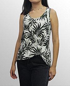 COIN 1804 Womens Leaf Print Twist Tank Top