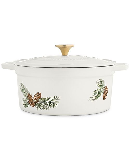 Martha Stewart Collection 6-Qt. Pinecone Enameled Cast Iron Dutch Oven, Created For Macy's