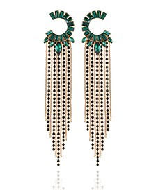 Crystal Semi-Circle & Fringe Chandelier Earrings