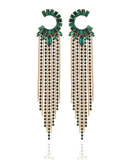 GUESS Crystal Semi-Circle & Fringe Chandelier Earrings