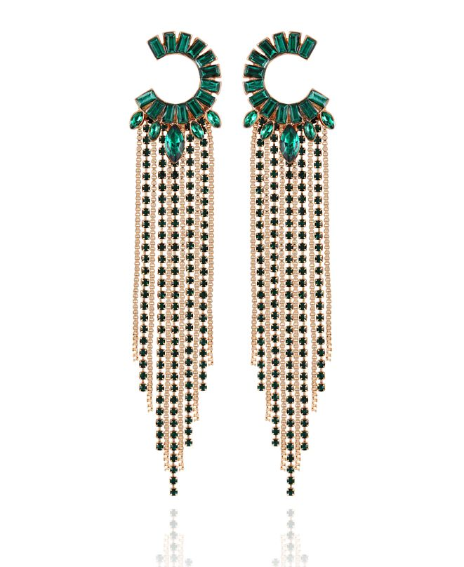 GUESS Crystal Semi-Circle & Fringe Chandelier Earrings
