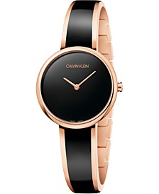 Women's Seduce Pink Gold-Tone PVD Stainless Steel & Black Resin Bangle Bracelet Watch 30mm