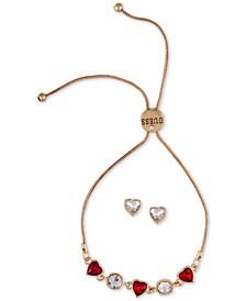 Crystal Heart Slider Bracelet & Stud Earring Gift Set