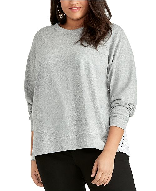 RACHEL Rachel Roy Trendy Plus Size Combo Raglan Top
