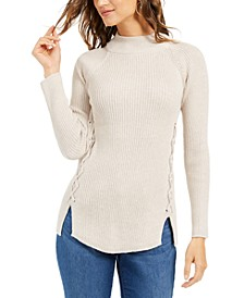 Petite Mock-Neck Lace-Up Sweater, Created for Macy's