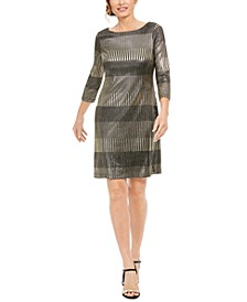 Petite Metallic-Stripe Dress