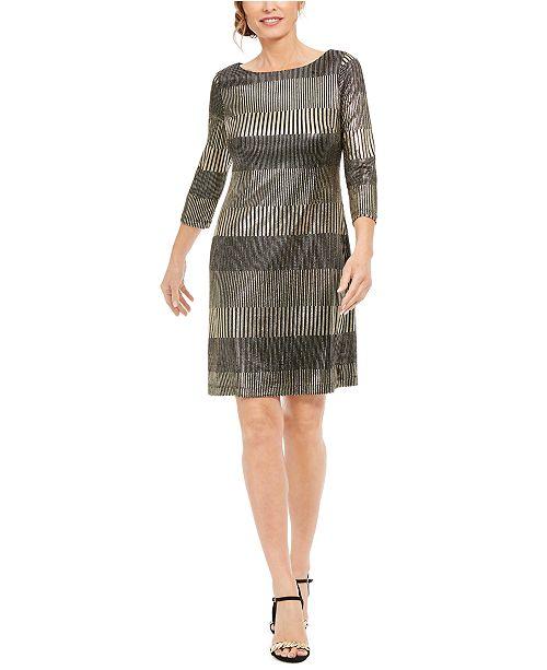 Jessica Howard Metallic-Foil Shift Dress