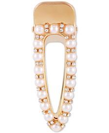 Gold-Tone Pavé & Imitation Pearl Hair Clip